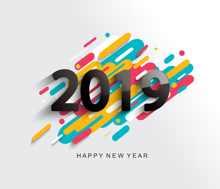 Creative happy new year 2019 card on modern background for your seasonal holidays flyers, greetings and invitations cards and christmas themed congratulations and banners. Vector illustration.