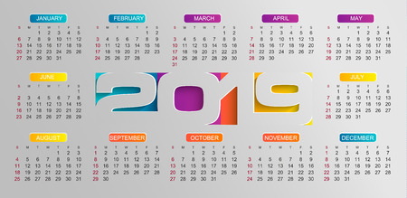 Modern calendar for 2019 year. Holiday event planner. Week Starts Sunday. Vector illustration.