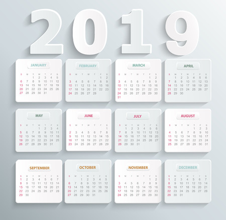 Simple calendar for 2019 year. Holiday event planner. Week Starts Sunday. Vector illustration. Illustration