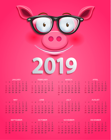 Cute calendar for 2019 year with smiling clever pigs face in glasses on pink background. Holiday event planner. Week Starts Sunday. Vector illustration.
