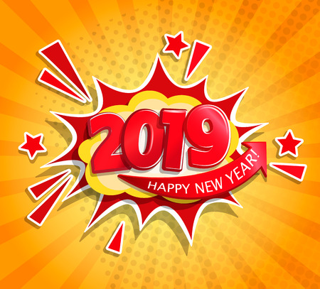 2019 New Year Comic Boom card in retro pop art style on sunburst background.Christmas comic text speech bubble.Halftone vector banner, greetings card, flyers, invitation, posters, brochure, calendars. Illusztráció