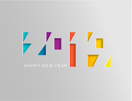 2019 Happy new year card in paper style for your seasonal holidays flyers, greetings and invitations cards and christmas themed congratulations and banners. Raster copy illustration. Stock Photo