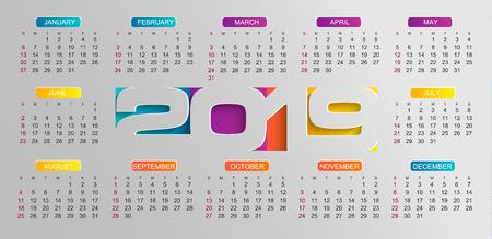 Modern calendar for 2019 year. Holiday event planner. Week Starts Sunday. Raster copy illustration.