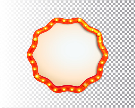 Shining isolated retro bulb light circle frame on transparent background. Vintage style banner, sign, signboard. Perfect template for shows, casino, cinema, circus. Vector illustration EPS 10 Illustration