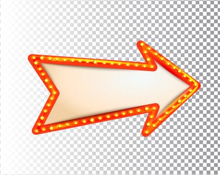 Glanzende geïsoleerde retro lamp licht frame pijl op transparante achtergrond. Vintage stijl banner, teken, uithangbord. Perfecte sjabloon voor shows, casino, bioscoop, circus. Vectorillustratie EPS 10 Vector Illustratie