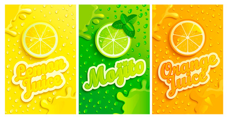 Set of fresh lemon,mojito,orange juices backgrounds with drops from condensation, splashing and fruit slices for brand,logo and template,label,emblems,stores,packaging,advertising.Vector illustration Illustration