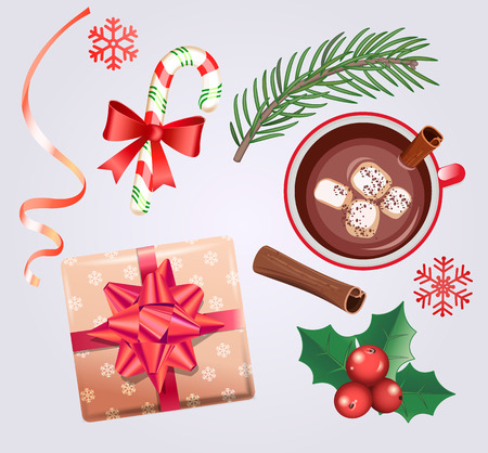 Set for Christmas holidays with traditional decorations-gift box with bow,candy cane,cocoa with marshmallows and cinnamon,spruce branch, ribbon, red mistletoe, snowflake. Vector illustration. 일러스트