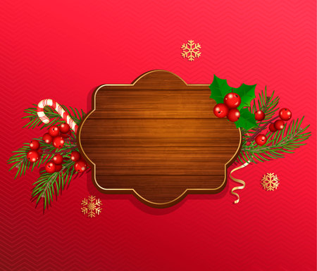 Merry Christmas and New Year wishing template in wooden frame on red background with traditional christmas decorations-candy cane, christmas tree branch,snowflakes.Vector illustration
