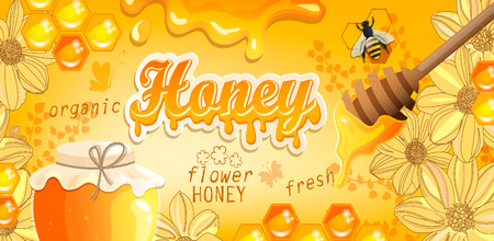 Natural floral honey banner with honeycombs, flowers, heather, bee and full glass jar. Flowing honey on colorful background. Template for brand, logo, advertise, label, packaging. Vector illustration. Illustration