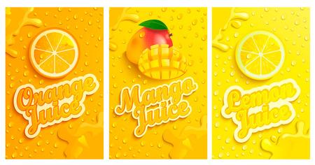 Set aus frischen und kalten Zitronen-, Mango-, Orangensäften mit Kondensationstropfen auf dem Hintergrund, Spritzern und Fruchtscheiben für Marke, Logo und Vorlage, Etikett, Embleme, Geschäfte, Verpackungen, Werbung Logo