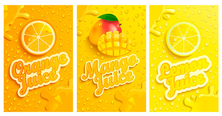 Set of fresh and cold lemon,mango,orange juices with drops from condensation on background, splashing and fruit slices for brand,logo and template,label,emblems,stores,packaging,advertising.Vector Ilustração