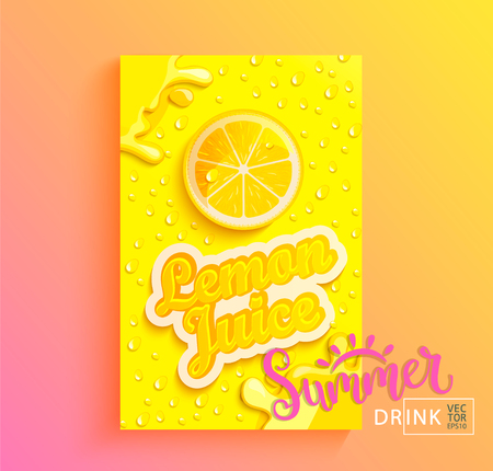 Fresh lemon juice banner with drops from condensation, splashing and fruit slice on gradient hot summer background for brand,logo, template,label,emblem,store,packaging,advertising.Vector illustration Stock Illustratie