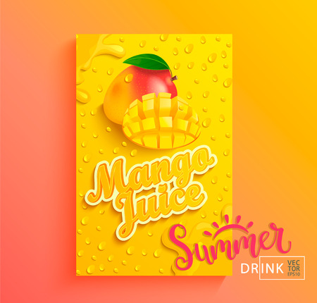 Świeży sok z mango transparent z kroplami z kondensacji, rozpryskiwania i plasterka owoców na gradientowym tle gorącego lata dla marki, logo, szablon, etykieta, godło, sklep, opakowania, reklama.Ilustracja wektorowa