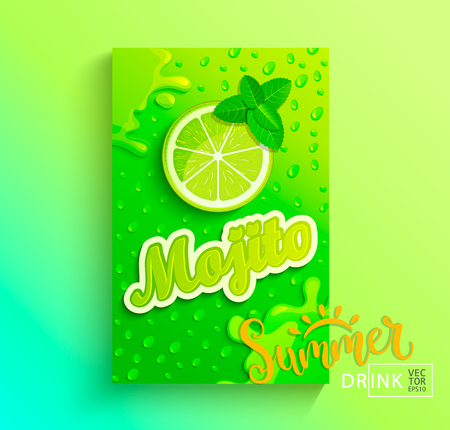 Fresh mojito banner, lime juice with drops from condensation, splashing and fruit slice on hot summer background for brand,logo, template,label,emblem,store,packaging,advertising.Vector illustration
