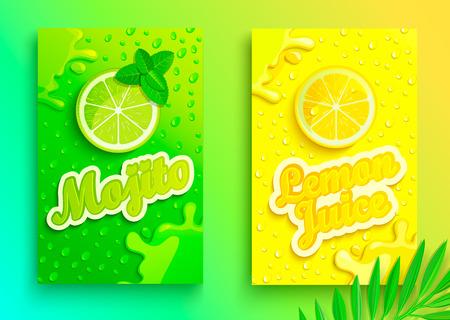 Set di banner di succhi di limone e mojito freschi con gocce di condensa, spruzzi e fette di frutta per marchio, logo e modello, etichetta, emblemi, negozi, imballaggi, pubblicità. Illustrazione vettoriale Logo