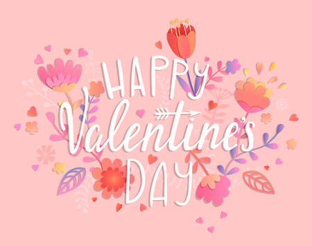 Happy Valentines day card on pink background with floral ornament. Greeting posters, brochure, banners, invitation. Vector illustration.