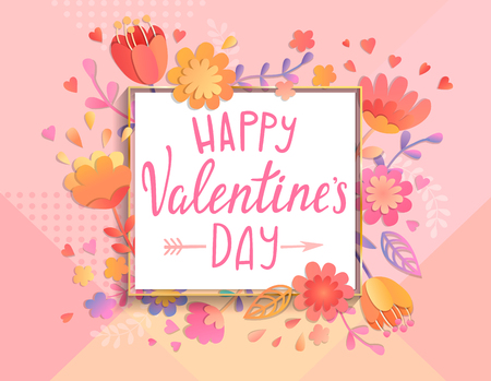 Happy Valentines day card template with square frame on geometric background with floral ornament. Greeting posters, brochure, banners, invitation. Vector illustration.