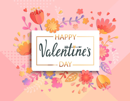 Happy Valentines day banner template with gold square frame on geometric background with floral ornament. Greeting posters, brochure,cards, invitation. Vector illustration. Illustration