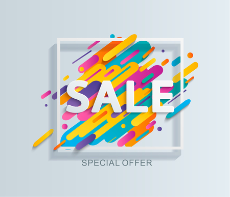 Sale banner template.Discount special offer price tag.Isolated Background for flyer,poster and shopping,marketing,selling,web,header.Abstract dynamic background for text,type,quote.Vector illustration Ilustração