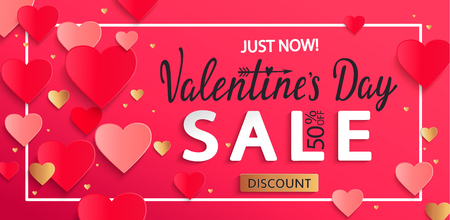 Valentines day sale background with gold hearts, poster template. Pink abstract background with hearts ornaments from paper, origami style. Discount flyer, card for february 14.Vector illustration.