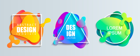 Set of liquid gradient color abstract geometric shapes.Modern banner with fluid design.Circle, triangle and square frames with wavy brighr splashes.Ready template for web, print, covers, design, logo. Illusztráció