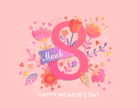 International Women's Day. Banner, flyer for March 8 decorating by paper flowers and ribbon. Congratulating and wishing happy holiday card for newsletter, brochures, postcards. Vector illustration.