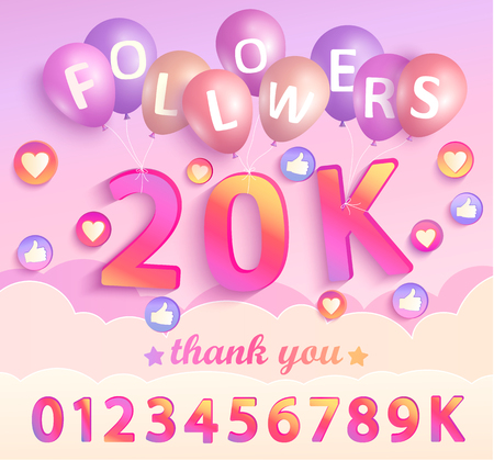 Set of numbers for Thank you followers design.Thanks followers congratulation card. Vector illustration for Social Networks. Web user or blogger celebrates and tweets a large number of subscribers.
