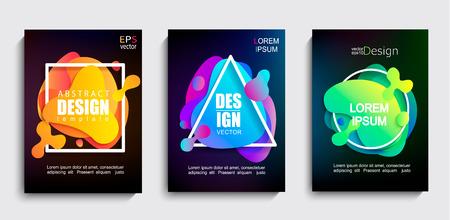 Set di forme geometriche astratte di colore sfumato liquido su sfondo nero. Banner moderno con design fluido. Cerchio, triangolo, cornici quadrate con spruzzi luminosi ondulati. Modello per web, stampa, copertine, design.