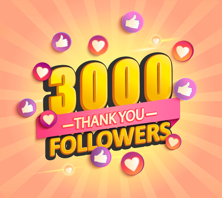 Thanks for the first 3000 followers banner.Thank you followers congratulation card. Vector illustration for Social Networks. Web user or blogger celebrates and tweets a large number of subscribers.  イラスト・ベクター素材