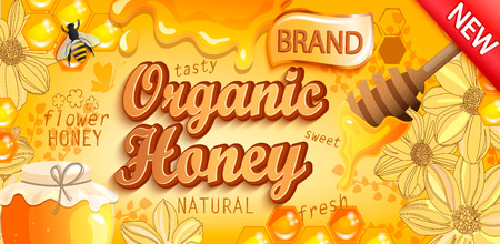 Natural organic honey banner with honeycombs, flowers, heather, bee and full glass jar. Flowing honey on colorful background. Template for brand, logo, advertise, label, packaging. Vector illustration Illustration