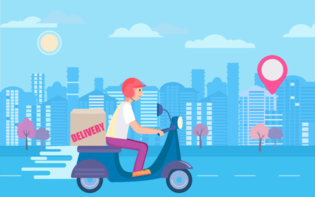 Fast and free scooter delivery concept. Food and other shipping service for apps and websites. Vector illustration of quick and express bike deliver. Advertise for restaurants, caffees, shops. 일러스트