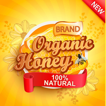 Honey organic label splash, natural and fresh on gold sunburst background for your brand, logo, template, label, emblem for groceries, stores, packaging and advertising, marketing. Vector illustration Illustration