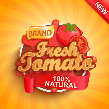 Fresh tomato logo, label or sticker on sunburst background. Natural, organic food, drink or sauce.Concept for farmers market, shops, packing and packages, advertising design.Vector illustration.
