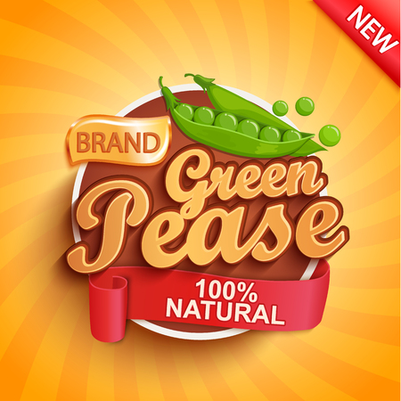 Fresh green pease logo, label or sticker on sunburst background. Natural, organic food.Tasty vegetables,Concept for farmers market, shops, packing and packages, advertising design.Vector illustration. Illustration