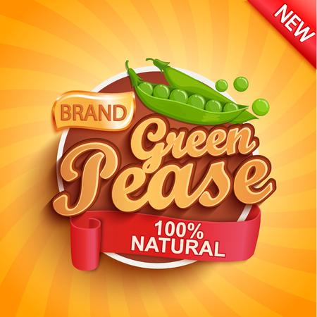 Logo, étiquette ou autocollant de pois verts frais sur fond sunburst. Aliments naturels et biologiques. Légumes savoureux, Concept pour le marché des agriculteurs, les magasins, les emballages et les emballages, la conception publicitaire. Illustration vectorielle.