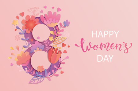 International Women's Day. Banner, flyer for March 8 decorating by paper flowers and hand drawn lettering. Congratulating and wishing happy holiday card for newsletter, brochures, postcards. Vector. Stock Illustratie