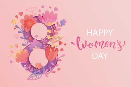 Internationaler Frauentag. Banner, Flyer für den 8. März mit Papierblumen und handgezeichneten Schriftzügen. Gratulieren und wünschen frohe Feiertagskarte für Newsletter, Broschüren, Postkarten. Vektor. Vektorgrafik