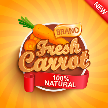 Fresh carrot logo, label or sticker on sunburst background. Natural, organic food. Concept of tasty vegetable for farmers market, shops, packing and packages, advertising design.Vector illustration.