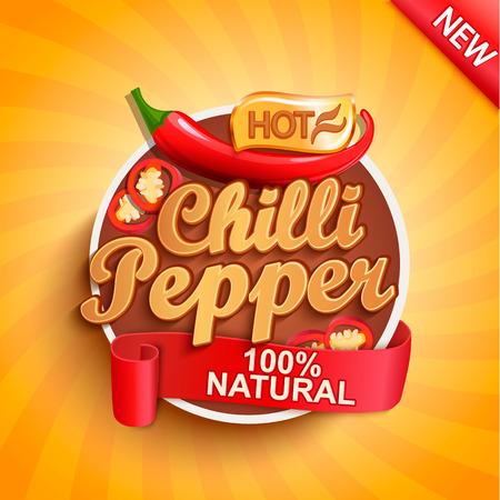 Logo, etichetta o adesivo di peperoncino piccante su sfondo raggera. Cibo naturale e biologico. Concetto di verdura gustosa per il mercato degli agricoltori, negozi, imballaggio e pacchetti, design pubblicitario. Illustrazione di vettore.
