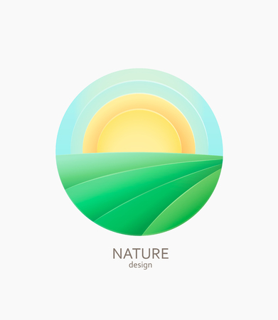 Nature farm logo, emblem or sticker. Simple landscape with sun and fields.Concept for fresh, natural and organic food, non gmo and ecological farm.Template label for packing, stores, advertise. Vector