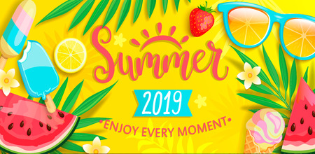 Summer banner with symbols for summertime such as ice cream,watermelon,strawberries,glasses.Hand drawn lettering for template card, wallpaper,flyer,invitation, poster,brochure.Vector illustration Çizim
