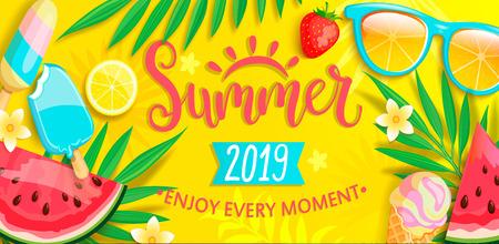 Zomerbanner met symbolen voor de zomer zoals ijs, watermeloen, aardbeien, glazen.
