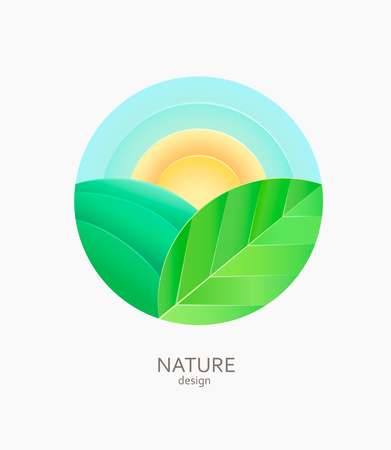 Nature farm logo, emblem or sticker. Simple landscape with sun,field,leaf.Concept for fresh, natural and organic food, non gmo and ecological farm.Template label for packing, stores, advertise. Vector