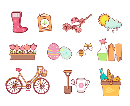 Set of colorful spring icons. Seasonal symbols in flat style. Garden, Flowers and other design elements, isolated on white background. Nature clip art.Vector illustration