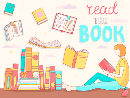 Young girl is Reading book. Close and open books in different positions near the student. Learning and education, relaxation and enjoyment concept design. Vector illustration in flat style.