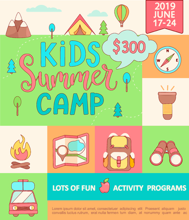 Banner for the Kids Summer camp, concept with handdrawn lettering,Camping and Travelling on holiday with a lot of camping equipment such as tent, backpack and others in flat style,vector illustration.