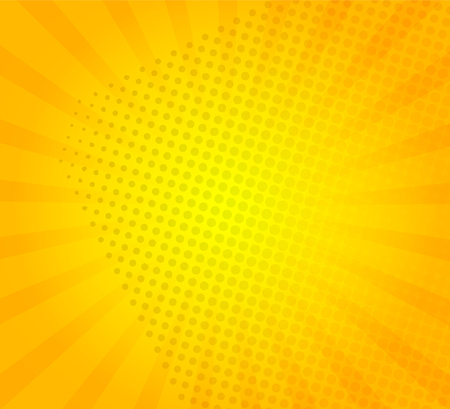 Sunburst on yellow background with dots. Template for your design, concept of hot summer. Radial sun rays.Vector illustration.
