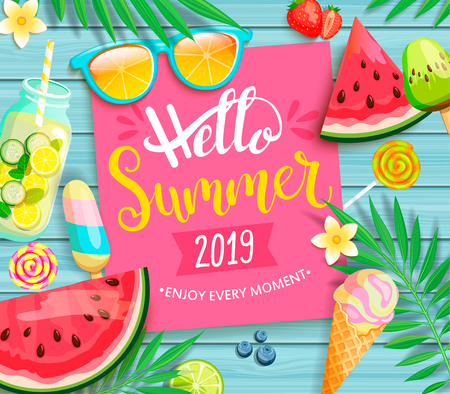Hello summer 2019 pink card or banner with handdrawn lettering on blue wooden background with watermelon, detox, ice, ice cream,sunglasses and candy, blueberry. Vector Illustration. Ilustração