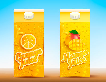 Set of two juice tetra packs with different tastes.Fresh and natural orange and mango juice for your brand,logo, template, label, emblem for packaging, packing, advertise. Vector illustration