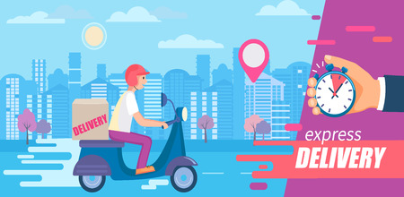 Fast and free delivery in short time on scooters.Food and other shipping service for apps, websites.Quick and express bike deliver. Advertise for restaurants, caffees, shops, pizzerias.Vector Illusztráció